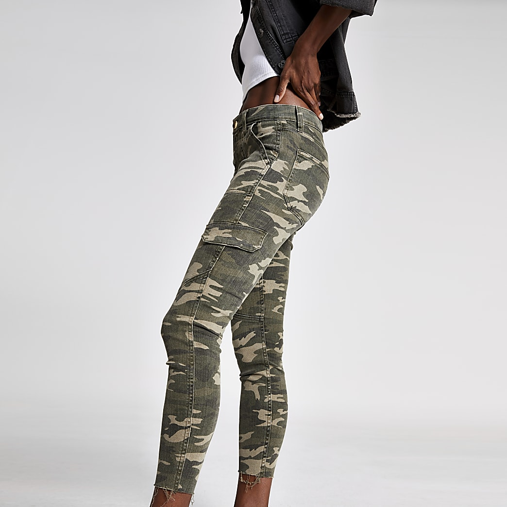 Amelie - Kaki superskinny jeans met camouflageprint
