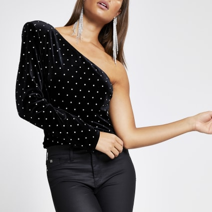 Black velvet studded one sleeve top