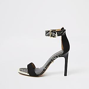 Zwarte sandalen met subtiele slangenprint