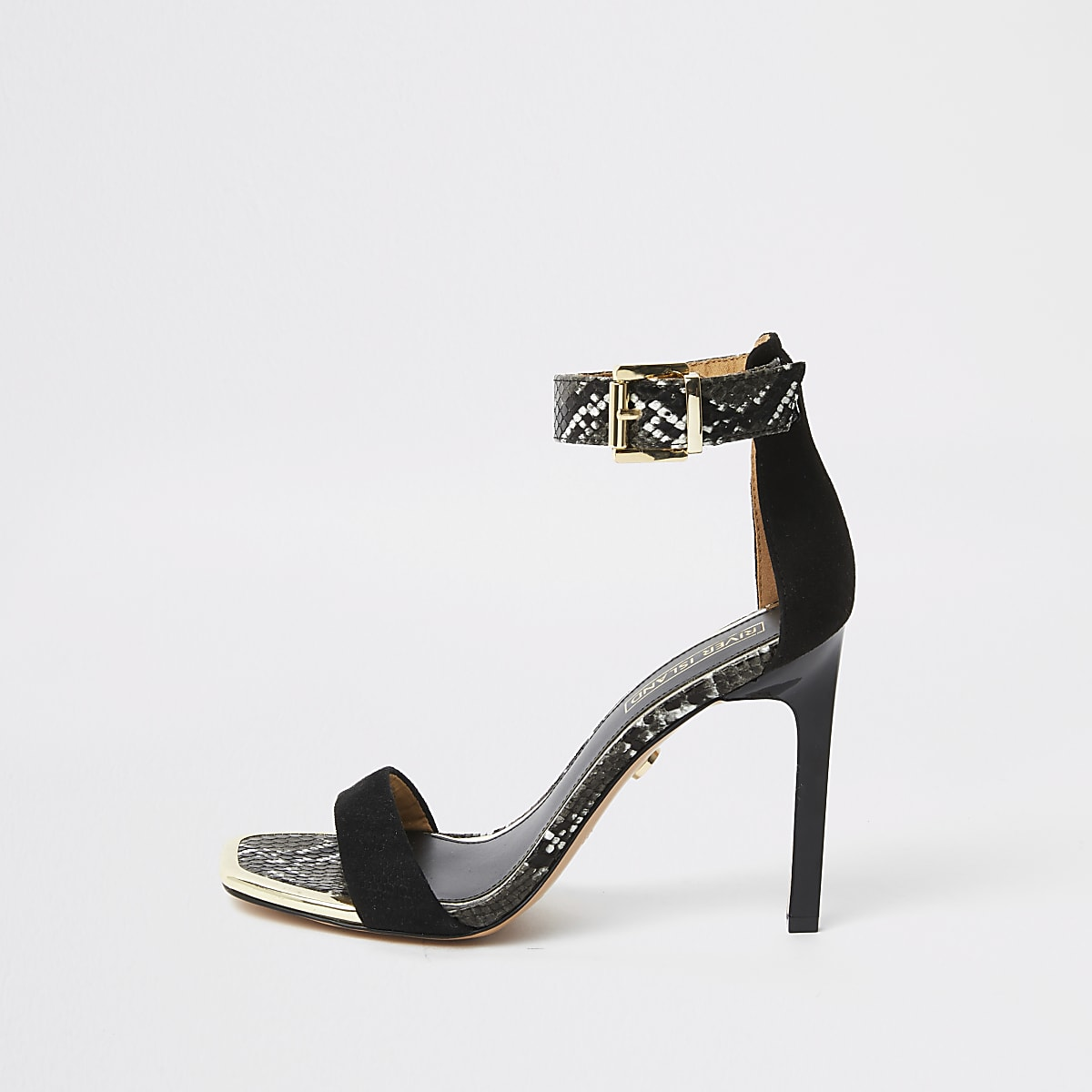 Black barely there snake print sandals