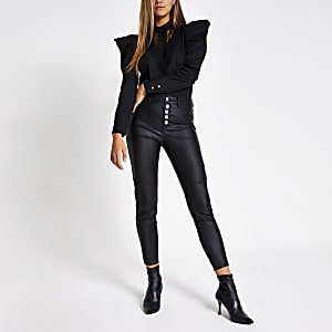 Hailey – Jean taille haute noir enduit