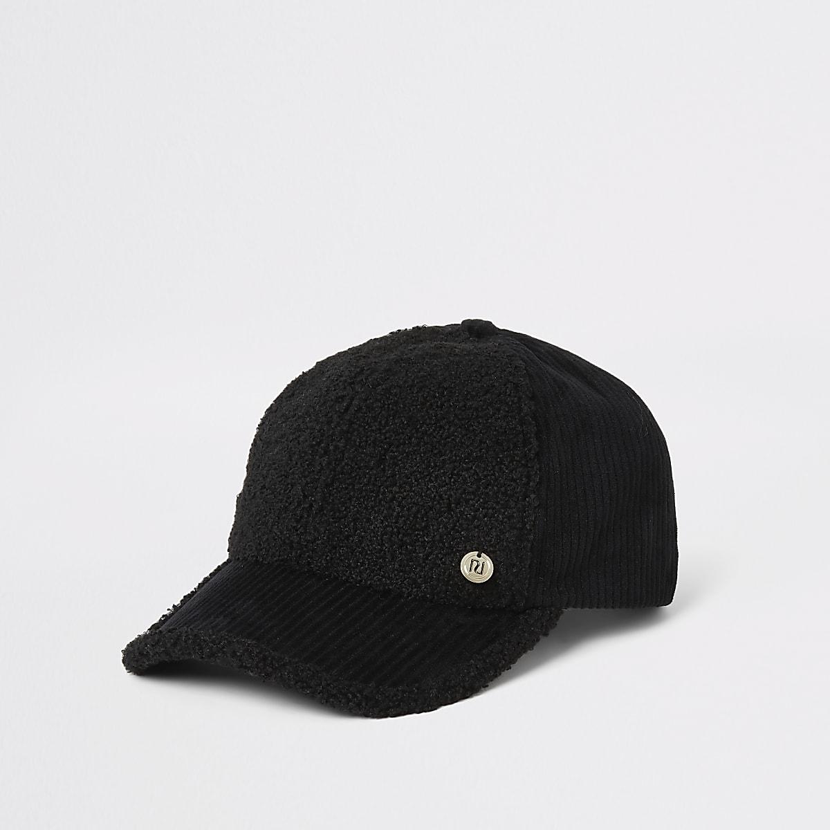 Casquette en velours côtelé noir