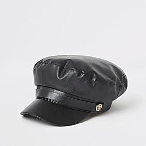 Casquette gavroche en cuir synthétique noire