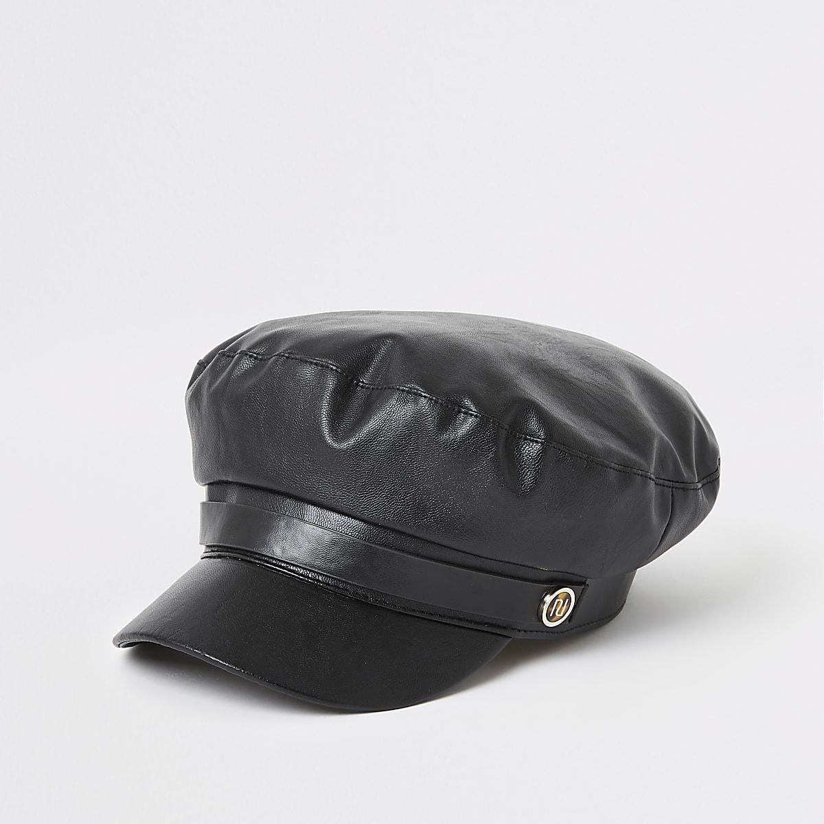 Black faux leather baker boy hat