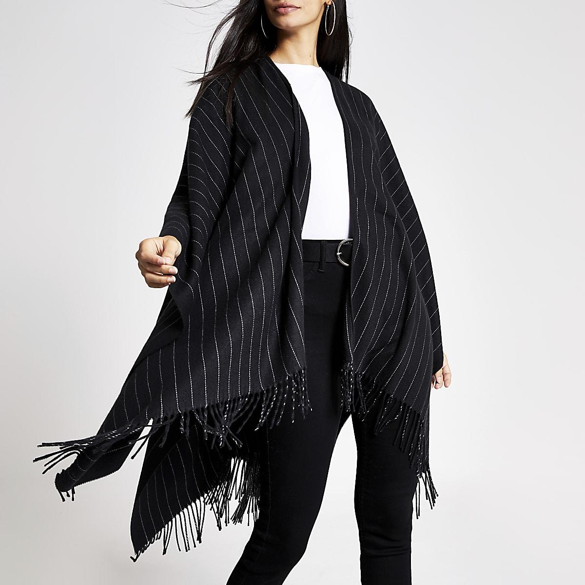 Black pin stripe cape