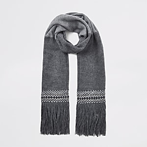 Grey colour block fringe scarf