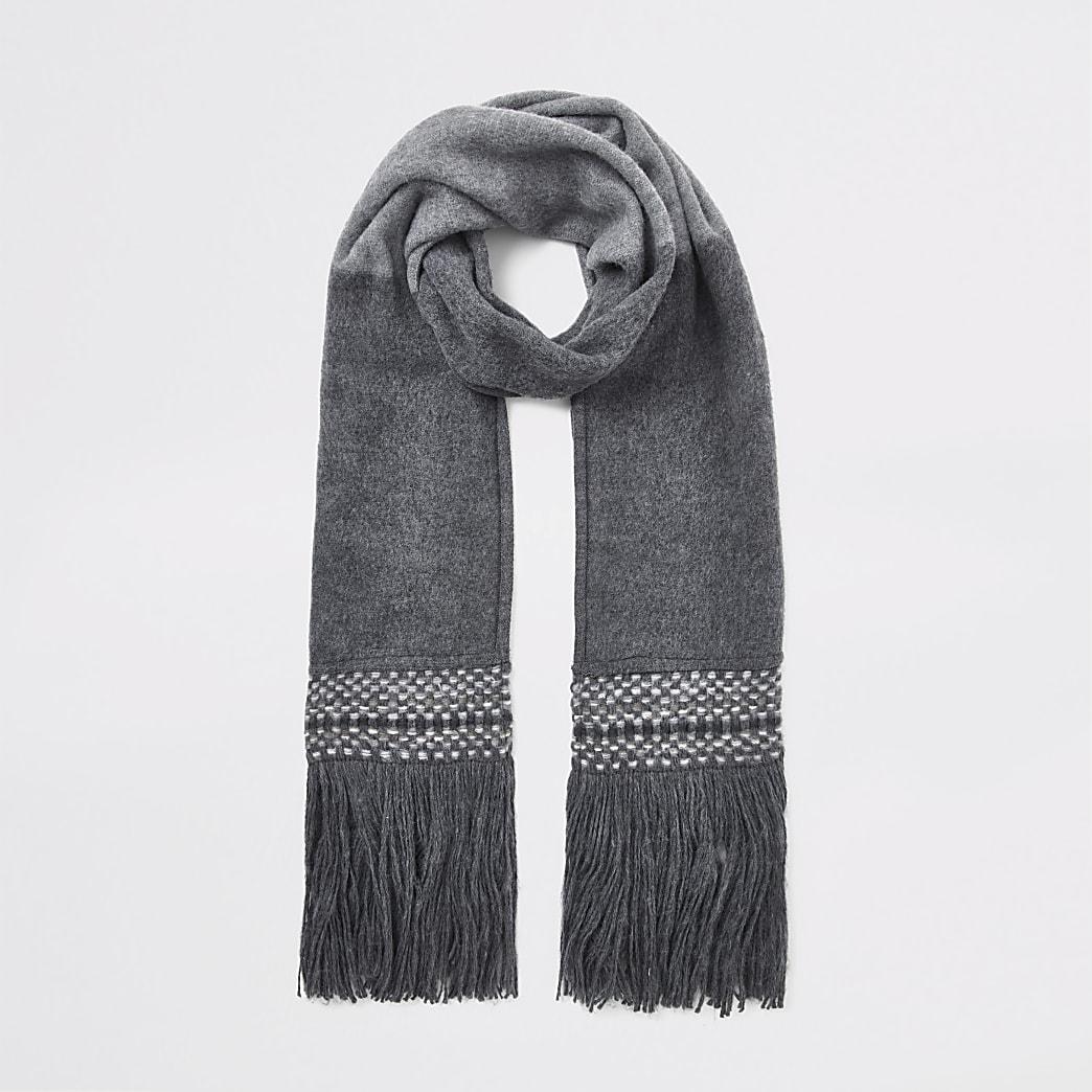 Grey colour block fringe scarf