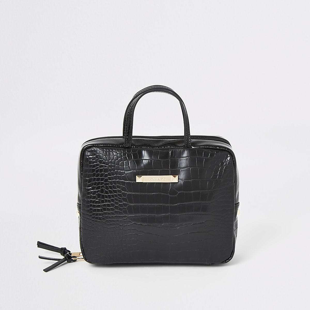 Black faux leather croc embossed vanity bag