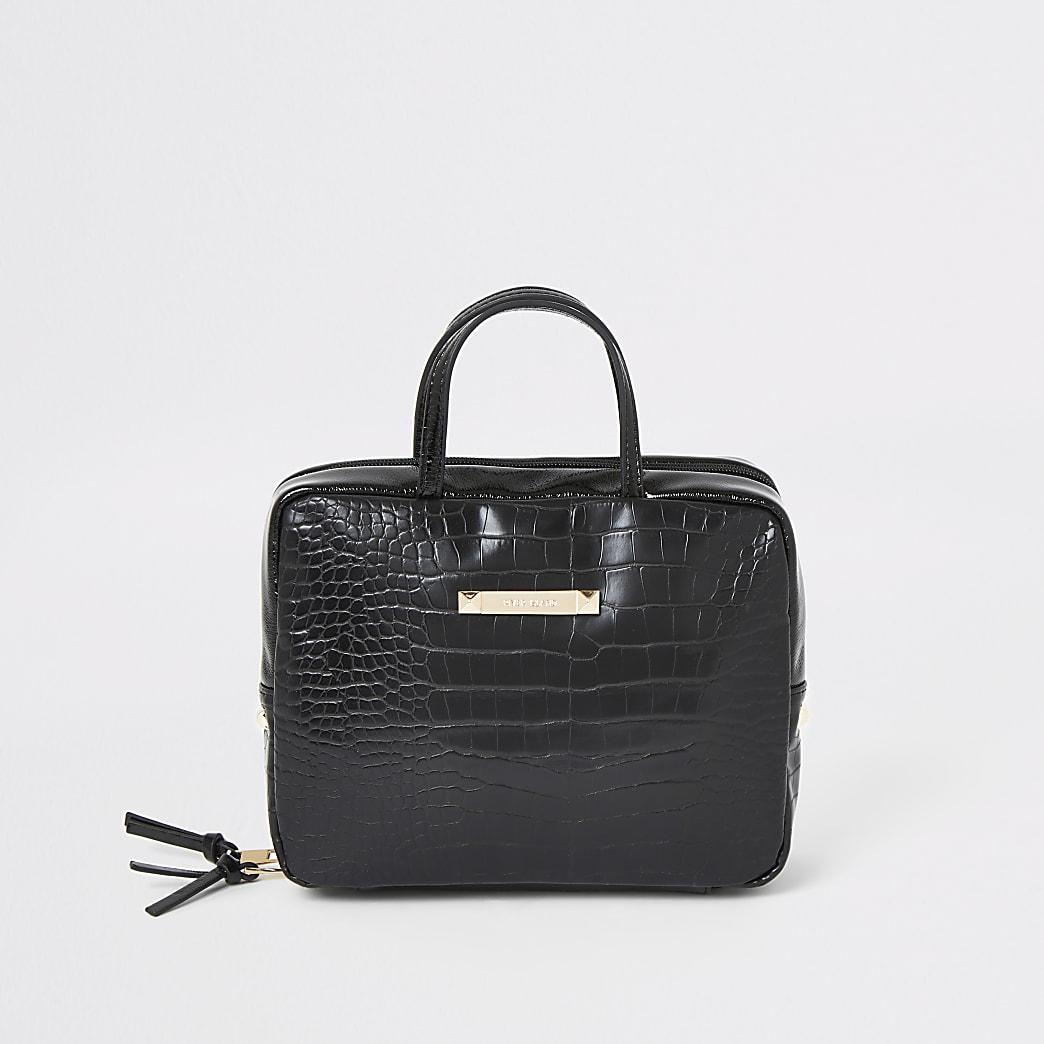 Black faux leather croc embossed vanity bag