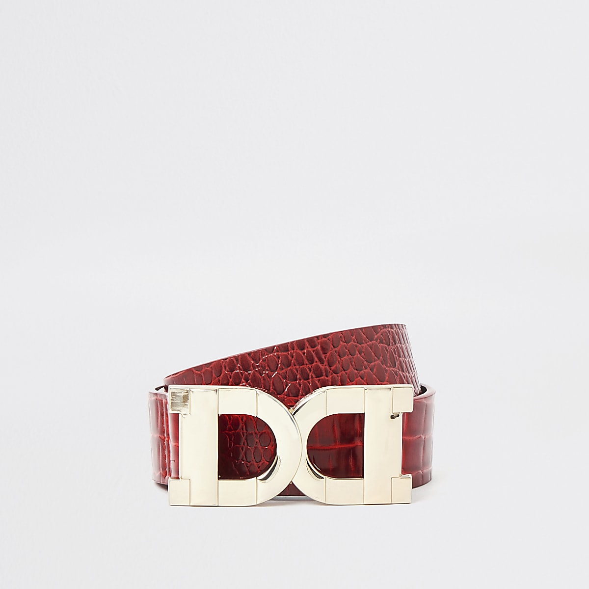 Red double D ring buckle belt