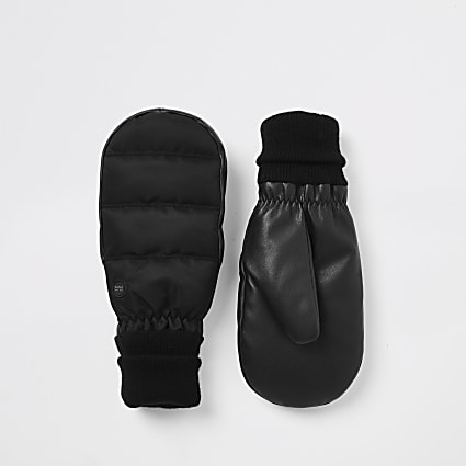 Black leather padded cuffed mittens