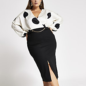 Plus cream spot long sleeve chain midi dress