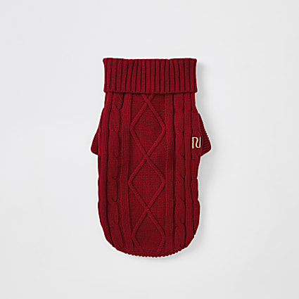 Red cable knitted RI dog jumper
