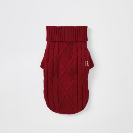 Red cable knitted dog jumper