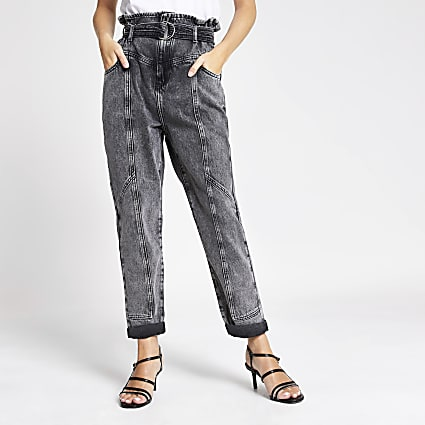Petite grey paperbag waist belted jeans