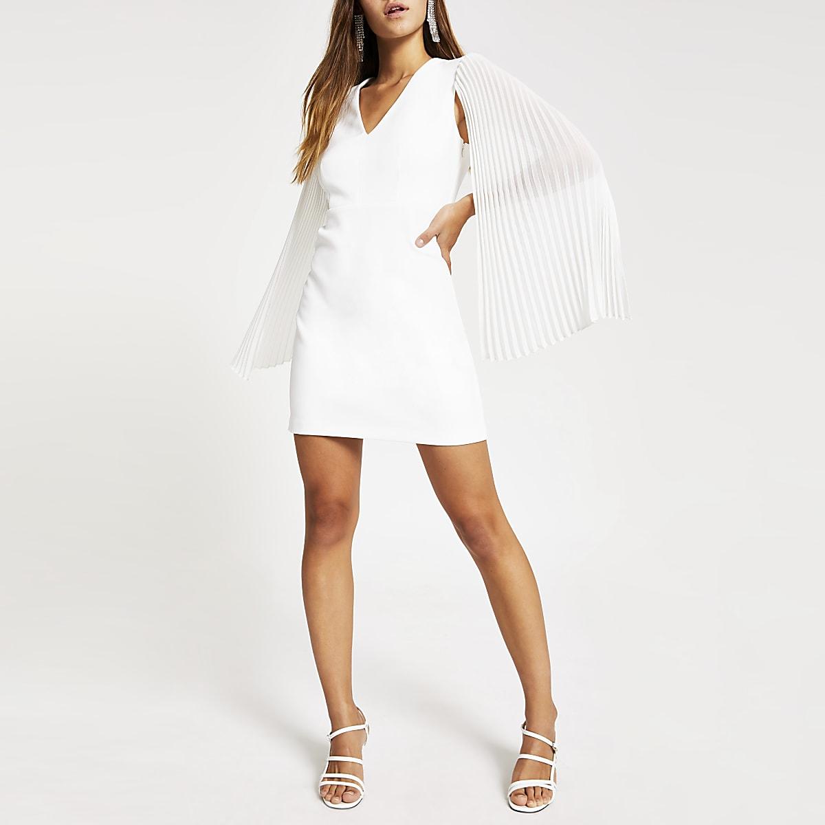 Petite white pleated sleeve mini dress