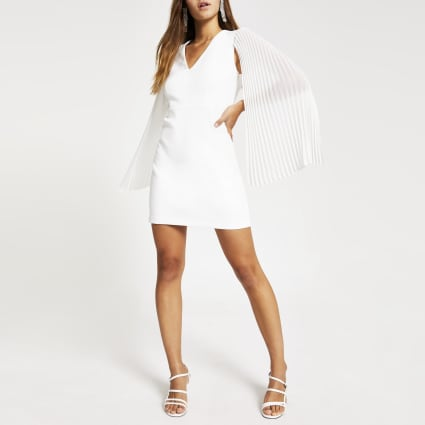 Petite white pleated sleeve mini dress