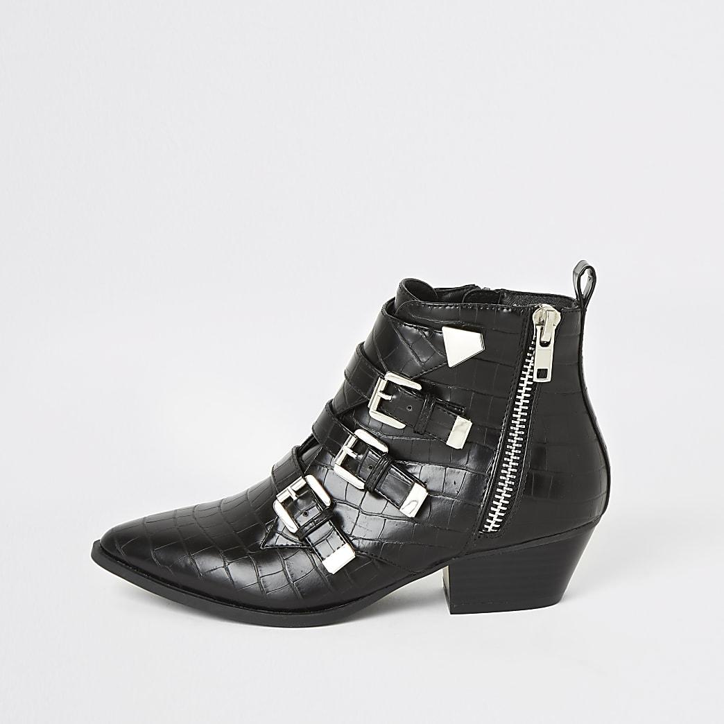 Black croc embossed western buckle boots