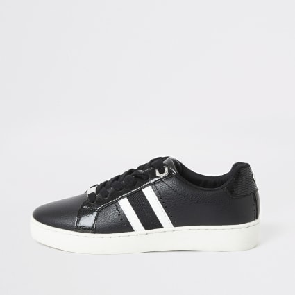 Black side stripe lace-up trainers