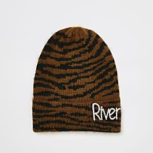Bonnet marron impriméavec« River » en strass