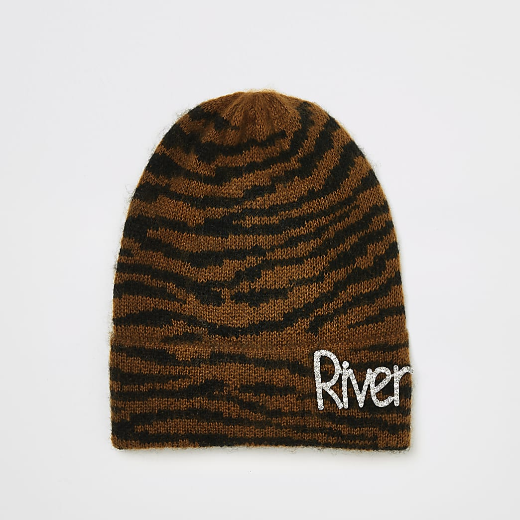 Brown print diamante 'River' knitted hat