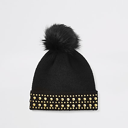 Black studded faux fur pom pom beanie hat