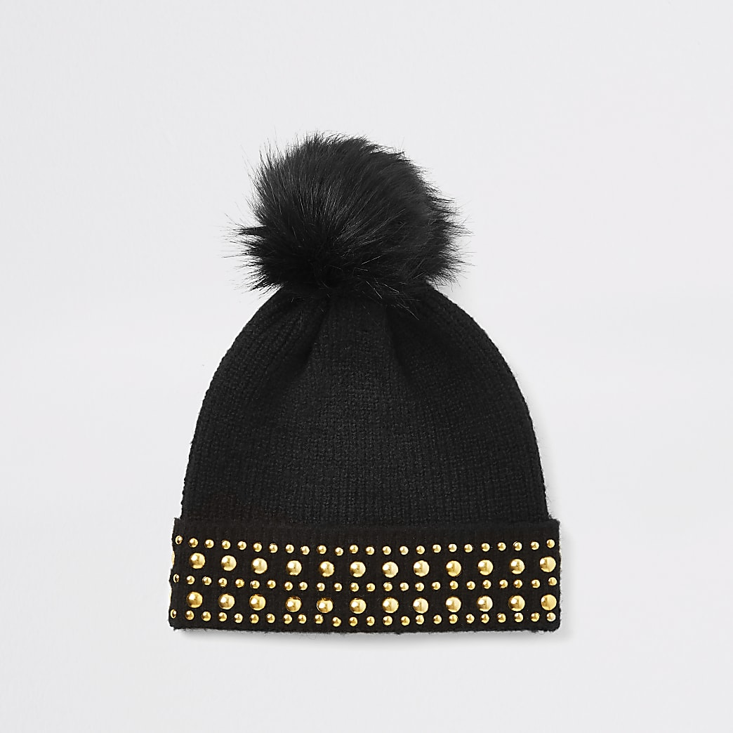 Black studded faux fur pom pom beanie hat