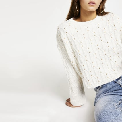 Petite white cable knit studded crop jumper