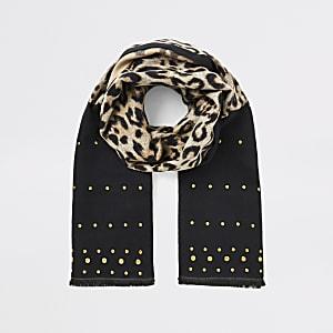 Schwarzer Schal mit Leopardenmuster und Nieten