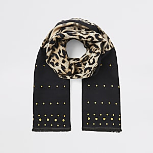 Écharpe cloutée noir à imprimé léopard