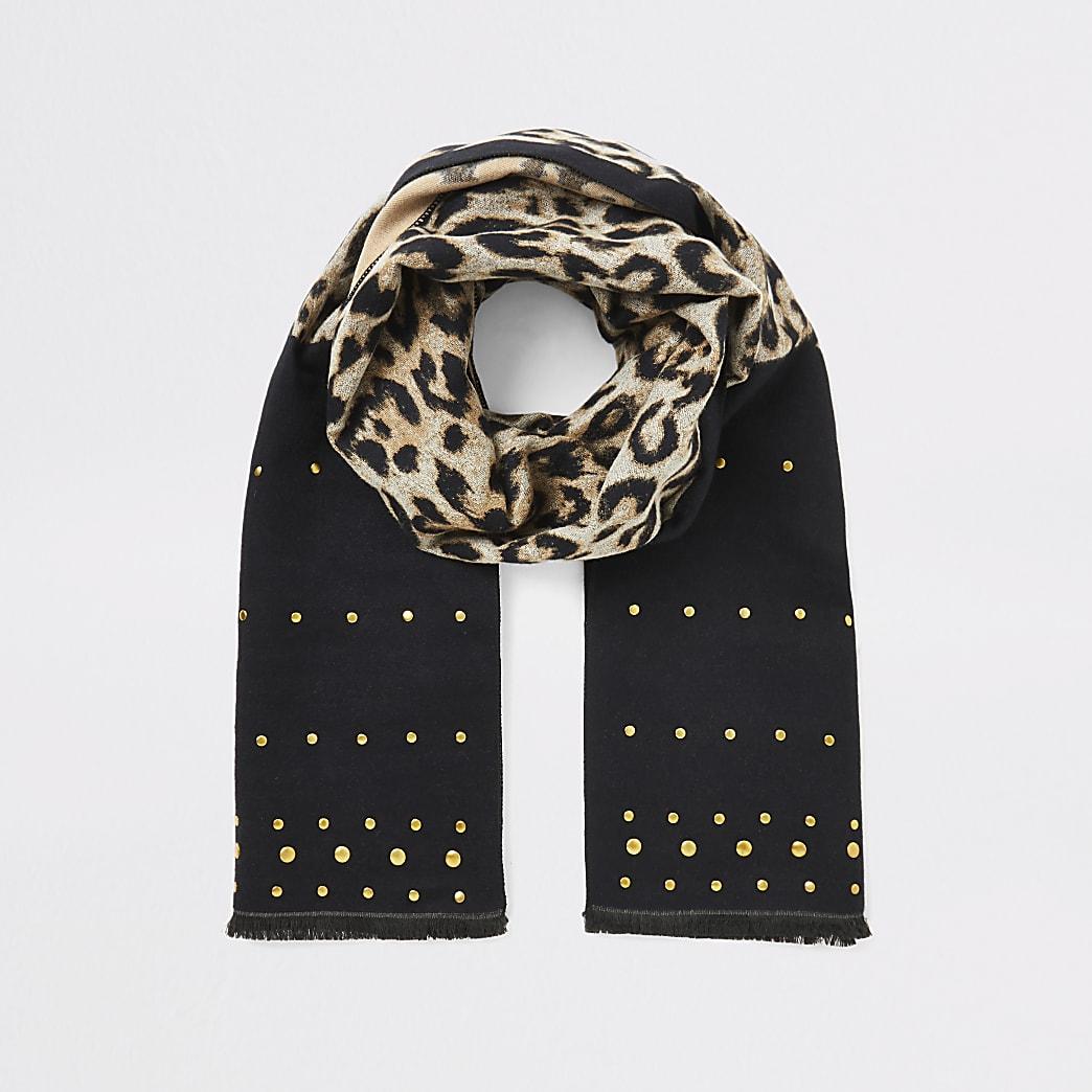 Black leopard print studded scarf