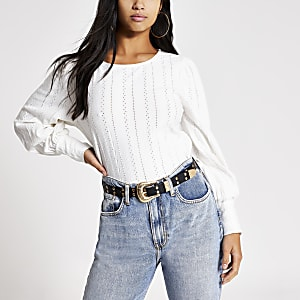 Petite white broderie long sleeve top