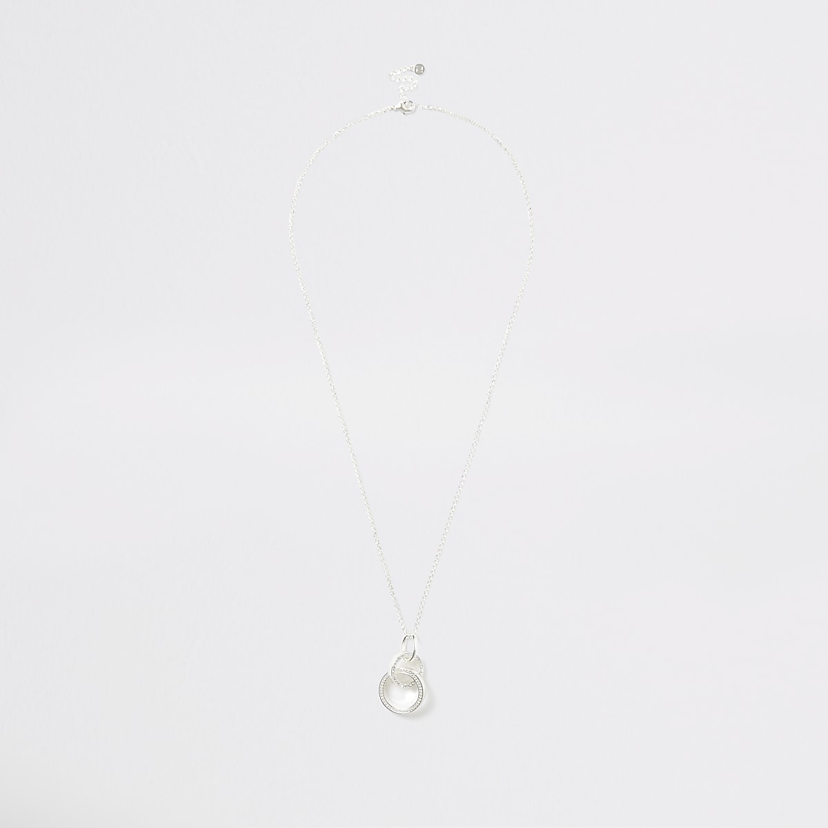 Silver colour interlinked pendant necklace