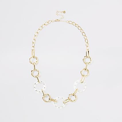 Gold colour circle diamante necklace