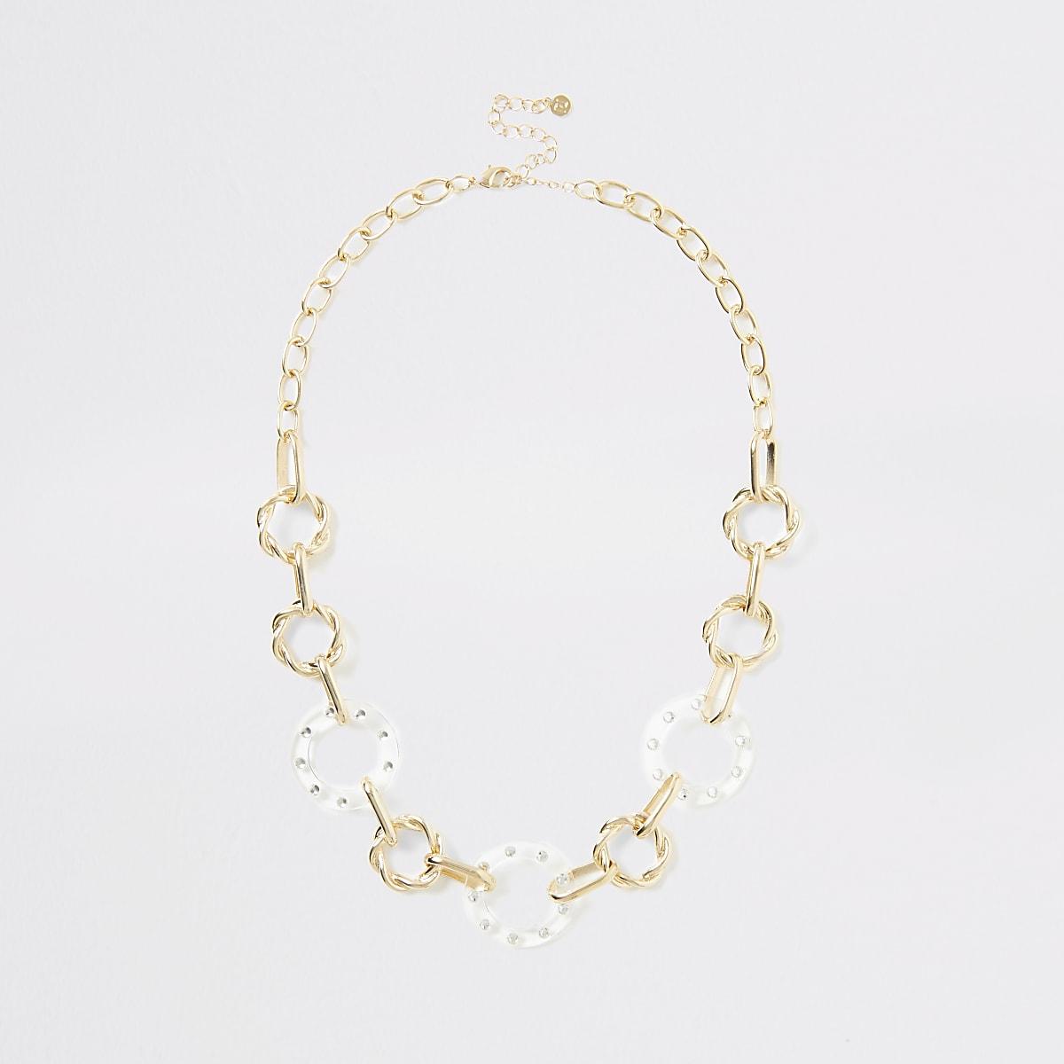 Goudkleurige diamanté ketting met cirkel