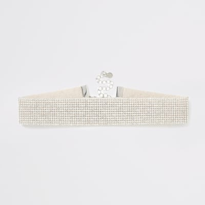 Silver Colour Diamante Embellished Choker by River Island