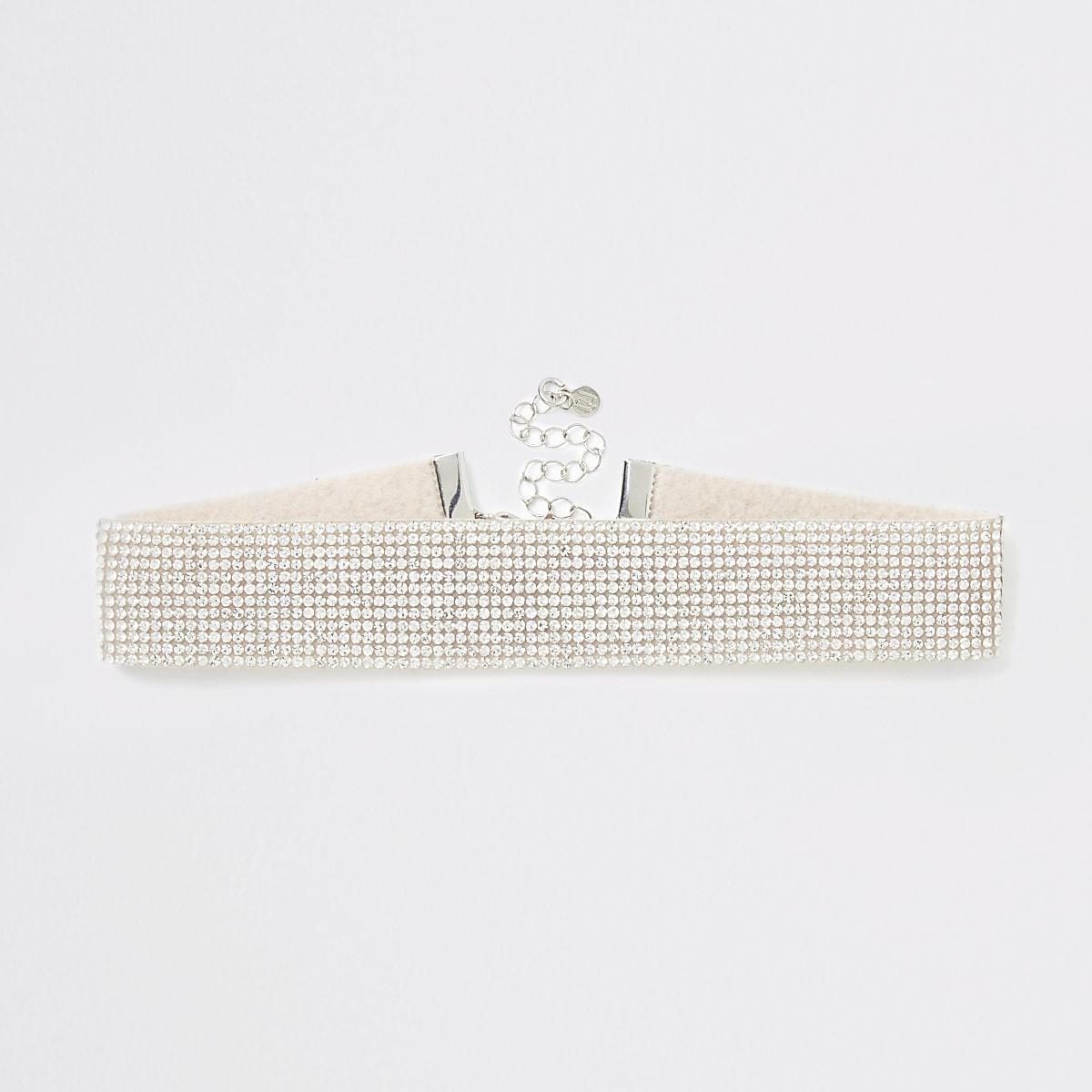 Zilverkleurige chokerketting met stras