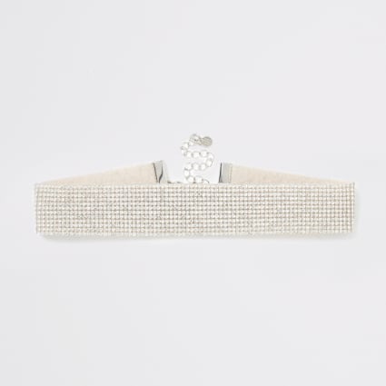 Silver colour diamante embellished choker