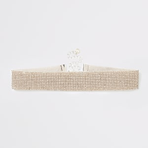 Rose gold colour diamante embellished choker