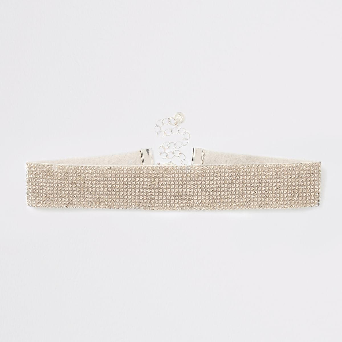 Roségoudkleurige chokerketting met stras