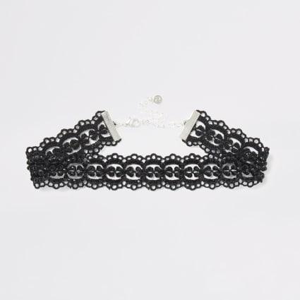 Black lace embellished choker