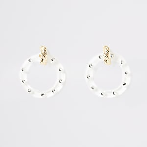Gold colour circle drop earrings
