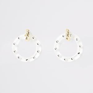 Gold colour circle drop earrings