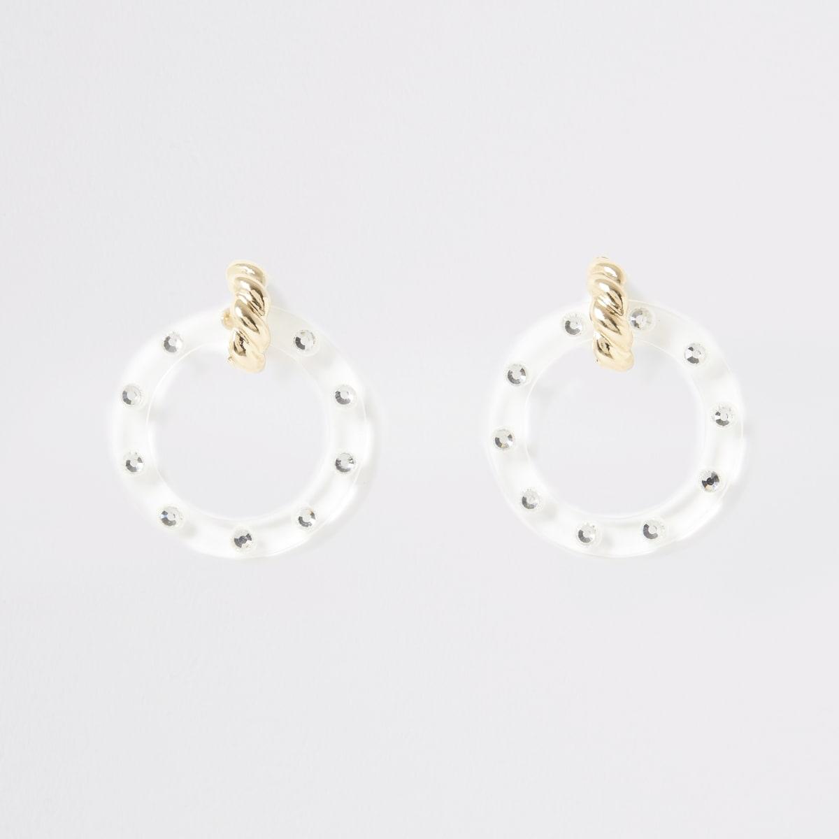 Goudkleurige oorhangers met cirkel