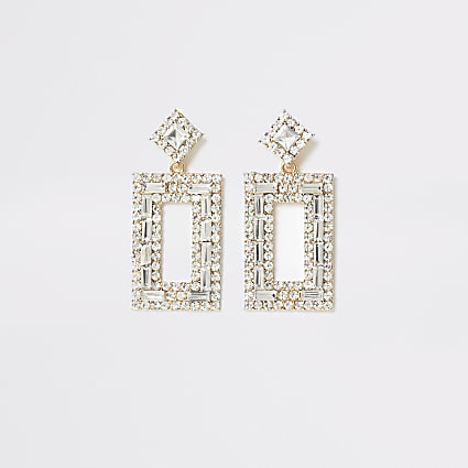 Gold colour diamante rectangle drop earrings