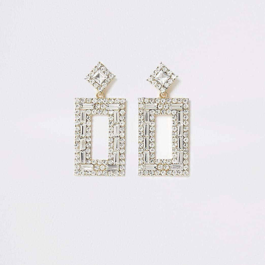 Gold colour diamante rectangle drop earrings