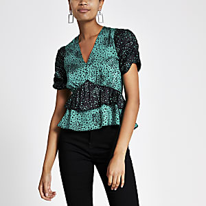 Green print ruffle top