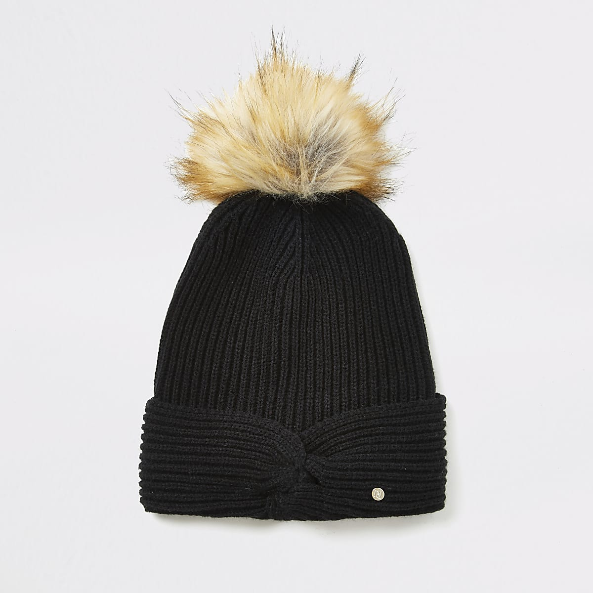 Black twisted front knitted beanie hat