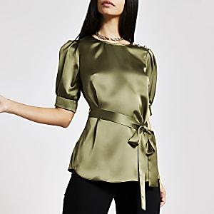 Kaki blouse met ceintuur
