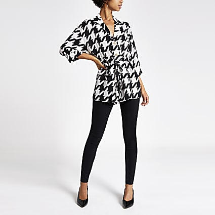 Black dogtooth check waisted shirt